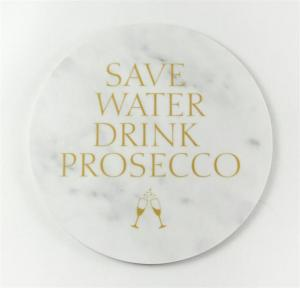 Glasunderlägg: Save water drink Prosecco - Mellow Design (marmor med guldtext)
