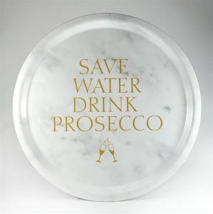 Bricka: Save water drink prosecco - Mellow Design (rund, marmor med guldtext)