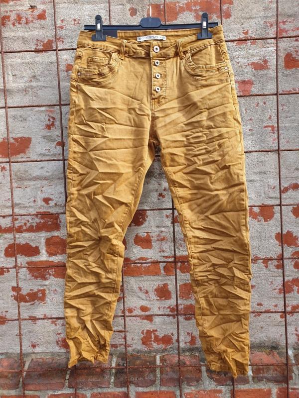 Jeans med knappar, senap - Mix by Heart