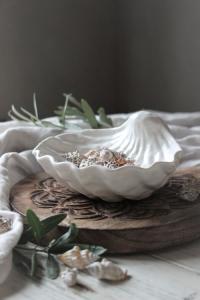 Skål Seashell, Matt Vit - Majas Cottage