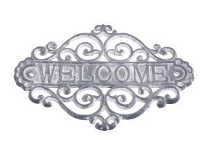 Skylt welcome, antikgrå gjutjärn - Chic Antique