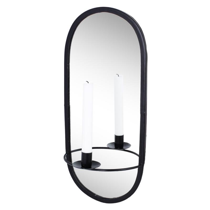 Spegel med Ljushållare Svart
