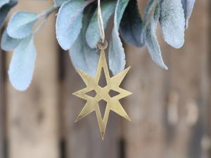 Stjärna med upphängning, guldfärgad - Chic Antique