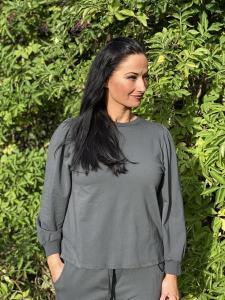 Sweatshirttröja med puffärm, grå - Mix by Heart