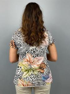 T-Shirt, A-modell med leo och blommönster, sand (Tuva) - Mix by Heart