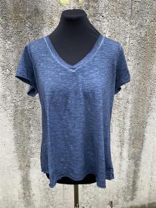 T-shirt med v-hals, Blå (Tuva) - Mix by Heart