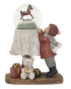 Snöglob med barn, julgran, nalle och gunghäst - A lot          KOMMER I NOV