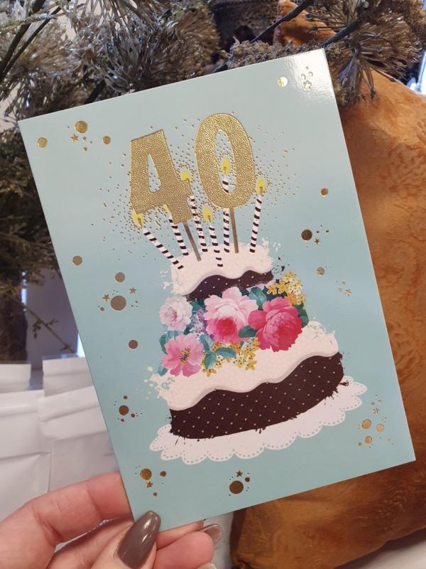 40 - Kort med guldiga siffror och en härlig tårta, Pictura