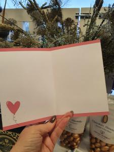 Hjärtligt tack, Kort med rosa hjärtballong, Pictura