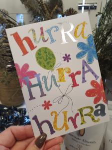 Hurra, hurra, hurra - Kort med ballong och blommor, Pictura