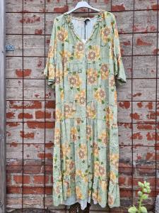 Maxiklänning, Grön med gula blommor - Rough & Rose