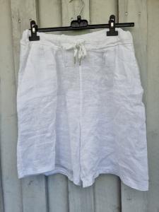 Shorts i 100% linne, vita - Rough & Rose