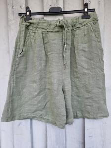 Shorts i 100% linne, army - Rough & Rose