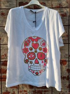 T-shirt Dödsskalle, vit - Rough & Rose
