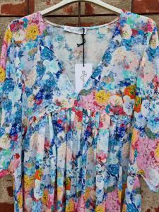 Klänning blommig blå/rosa - Rough & Rose