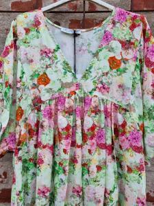 Klänning blommig rosa/grön - Rough & Rose