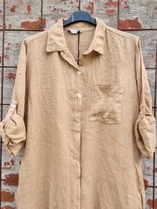 Långskjorta i linne Kamel - Rough & Rose