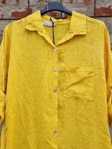 Långskjorta i linne Senap - Rough & Rose