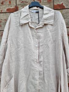 Långskjorta i linne Sand - Rough & Rose