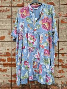 Klänning Jeansblå Blommig - Rough & Rose