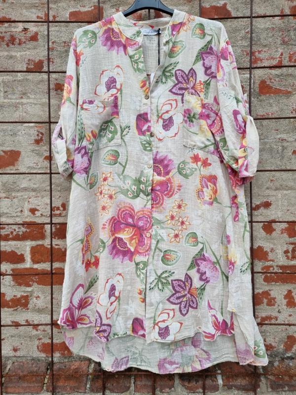 Långskjorta Big Flower Sand - Rough & Rose