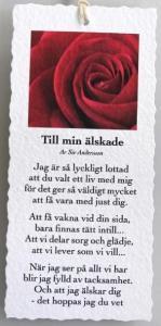 Diktkort - Till min älskade (röd ros)
