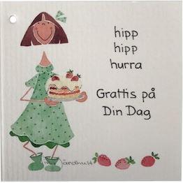Hipp hipp hurra, Grattis på din dag - Dubbelt kort , 7,5x7,5 cm (TJ Produktion)