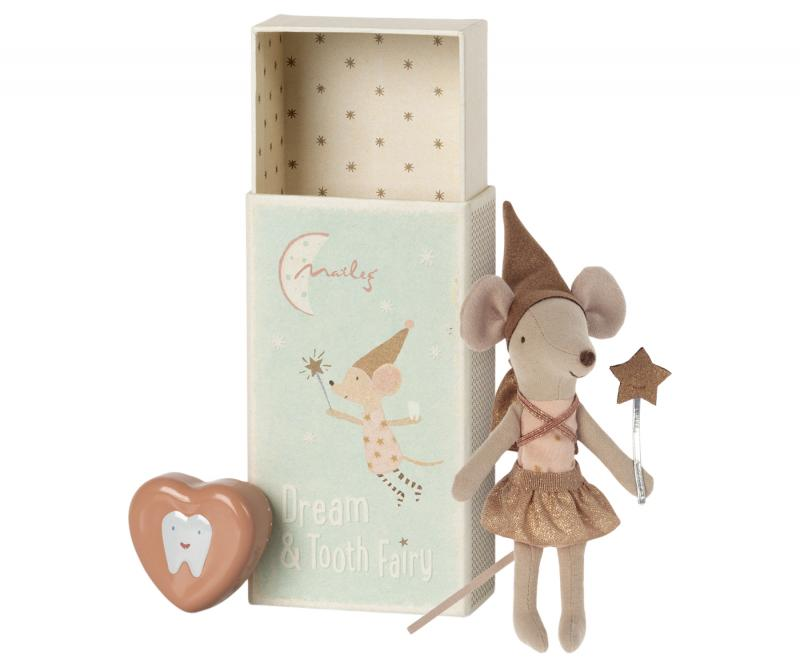 Tooth fairy mouse in matchbox - Rose - Maileg