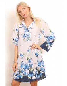 Klänning/tunika, vit botten med blomtryck i blå nyanser - Copenhagen Luxe