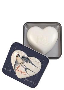 Hjärtformad tvål i plåtburk (Love is all you need) 150g