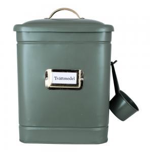 Tvättmedelsburk med skopa, Hilma (Grön/Mässing)