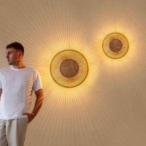 Vägglampa Clava Up - Wood Oak Large Ø 49 x 16,6 cm - Umage