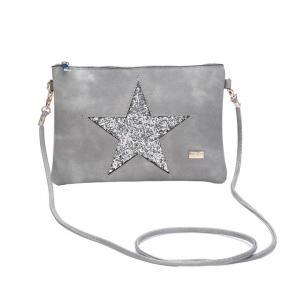 Grå väska med glittrig silvrig stjärna, ABIGAIL (Gemini)