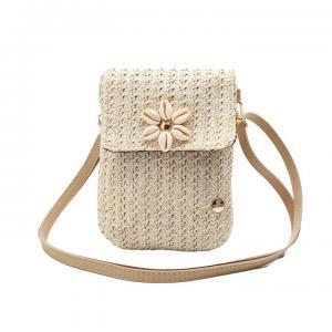 Beige väska med blomma av snäckor, ROM (Gemini)