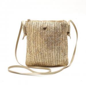 Beige/guld väska i flätad textil, SPAIN (Gemini)