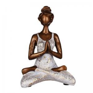 Yogakvinna ljushållare (Vit/brons)