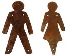 WC-skylt, kvinna och man