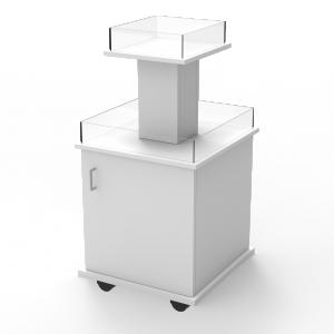 Pyramidbord i två nivåer med låda vit
