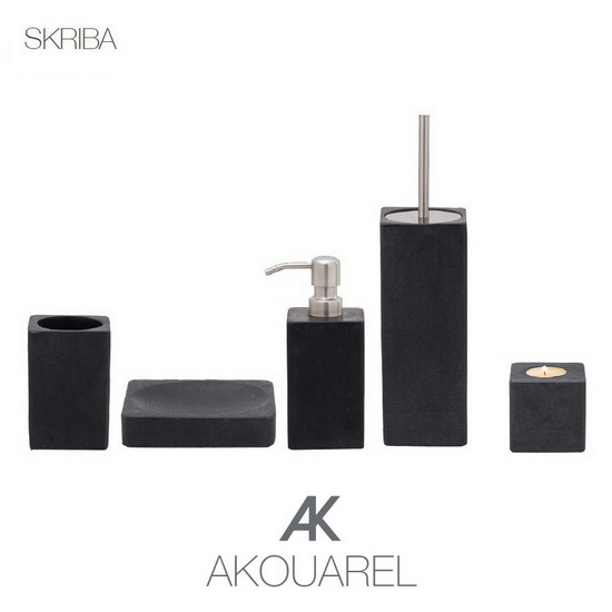 SKRIBA - A series of exclusive accessories for bathroom and kitchen in solid stone / marble from our AKOUAREL range.