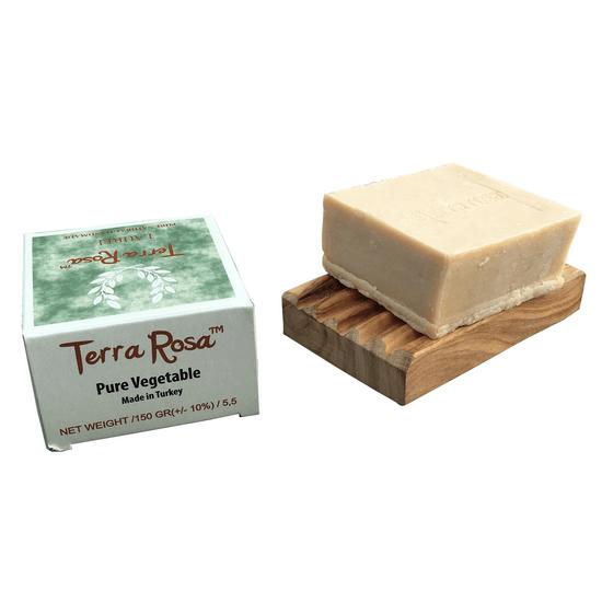 Terra Rosa Aleppotvål, Savon d'Alep med Lagerbärsolja & olivolja och tvålfat Köp online från Casa Zeytin