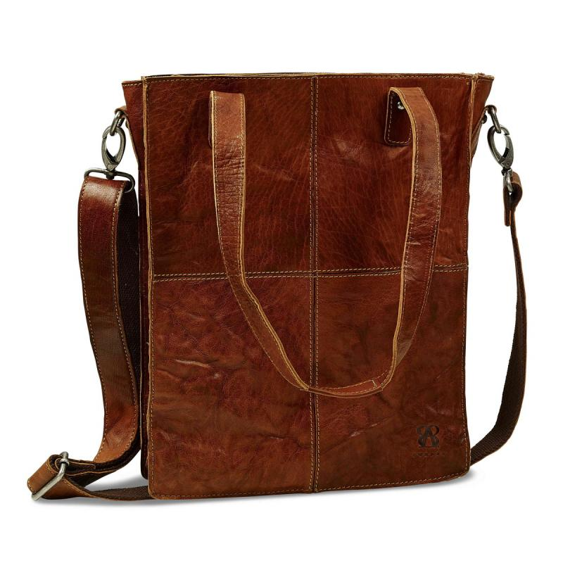 Leather Shoulder Bag B AWAY Padded with Computer compartment