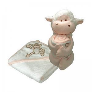Gosedjur Theo Mouton och 75x75 cm mjuk frotté handduk av 100% bomull 420gr/m² för barn