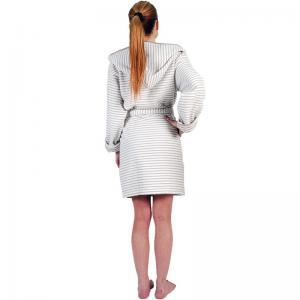 Badrock Grand Large med huva är en vändbar kort härligt mjuk modell av hög kvalité. Gråbeige/vit randig