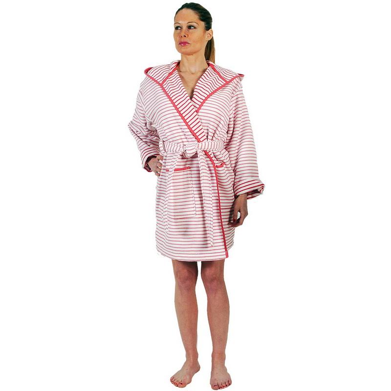 Women s Bathrobe Grand Large is a hooded short soft model of high Quality.  Rasberry  48e1abdde