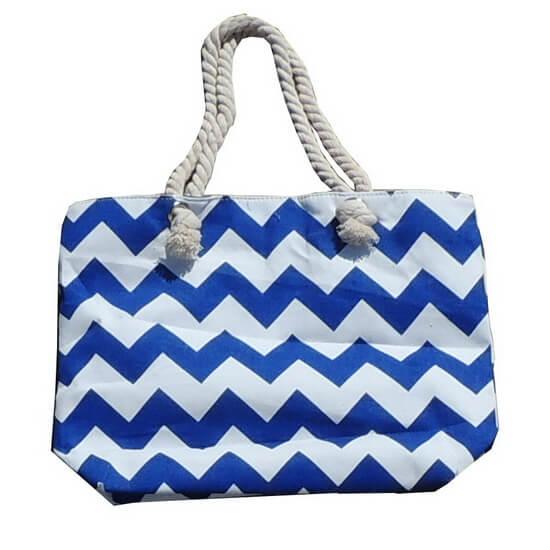 Beach Bag Chevron Blue and White with Zipper
