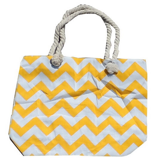 Beach Bag Chevron Yellow and White with Zipper