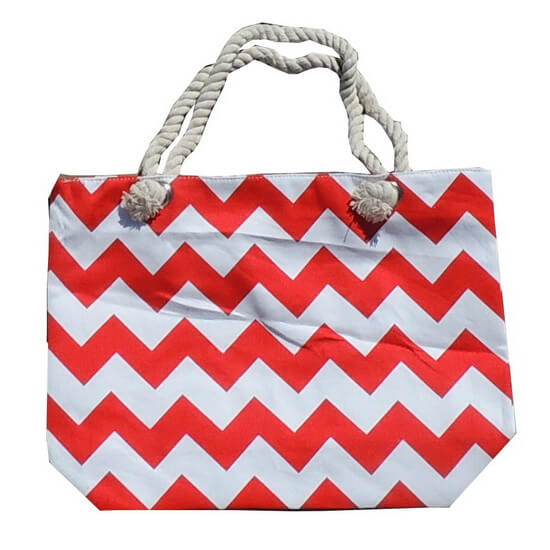 Beach Bag Chevron Red and White with Zipper