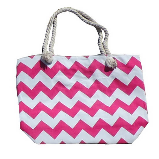 Beach Bag Chevron Pink and White with Zipper