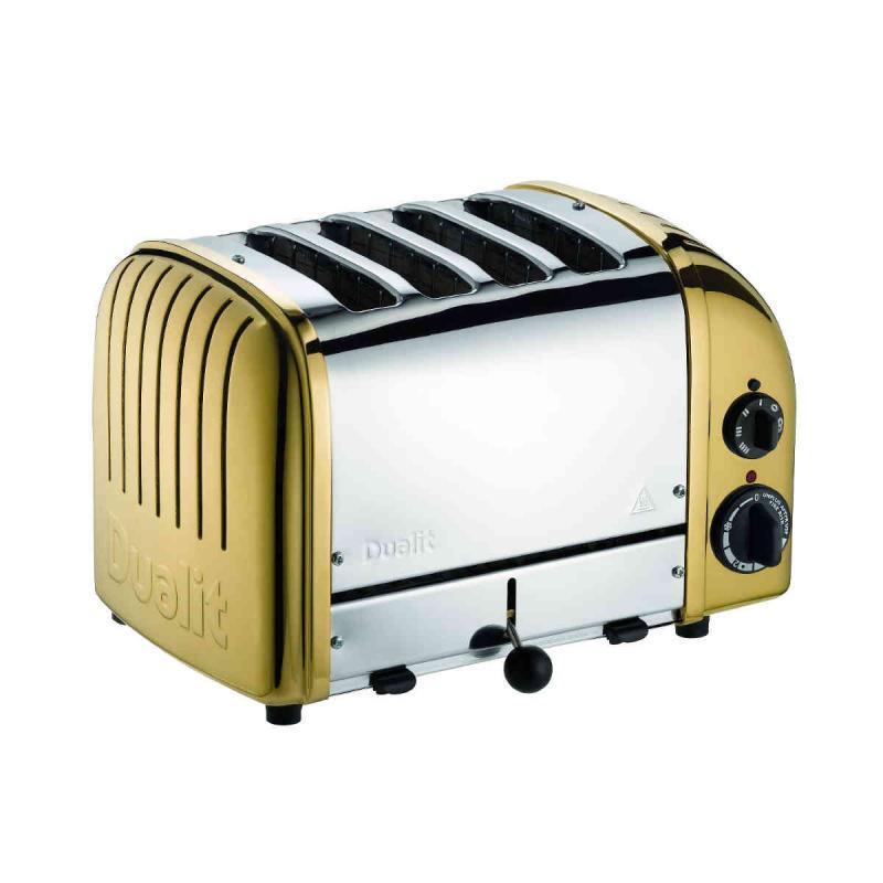 Dualit NewGen Classic 4 slice toaster. Brass Finish Design. Patented ProHeat element