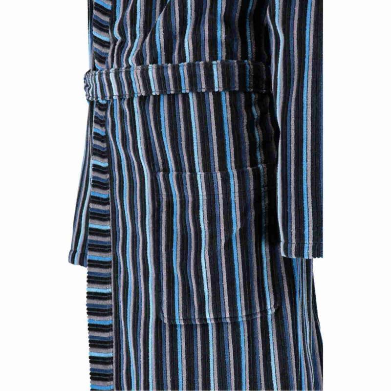 CAWÖ lång kimono morgonrock herr 6517-17 blå och antracit